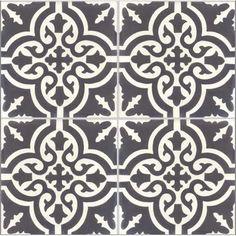 Carreau de ciment PREMIUM Trouville noir/blanc, 40 x 40 cm