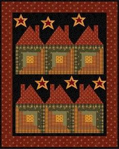 Log Cabin Houses Quilt.