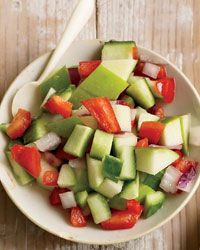 Apple-Cucumber Salsa Recipe from Food & Wine. I Dottiefied this and cooked the onion and bell pepper in a little olive oil. Yum.