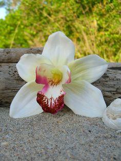 Orchid Flower Hair Clip-Weddings, Beach Destination Weddings, Vacations, Tropical Flowers, Hawaiian, Paradise, Floral Hair Clips. $11.95, via Etsy.