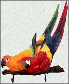 """Painted Metal Parrots on a Branch Wall Hook. Tropical Home Decor - 12"""" x 15"""""""