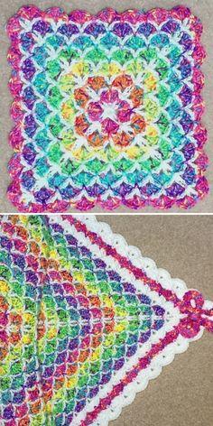 Crochet Shell Blanket, Crochet Baby Blanket Free Pattern, Baby Afghan Crochet, Granny Square Crochet Pattern, Free Crochet, Crochet Patterns, Crochet Blankets, Crocheted Afghans, Baby Blankets