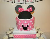 Zebra Minnie Mouse Pom Poms Pots. $20.00, via Etsy.