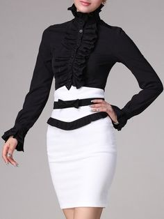 Ladylike Casual  Long Sleeve   Blouse Blouses from fashionmia.com