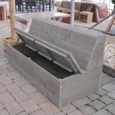 Diy Garden Furniture, Diy Furniture Couch, Garden Sofa, Outdoor Couch, Outdoor Seating, Diy Bank, Diy Terrasse, Bench With Storage, Pergola Designs