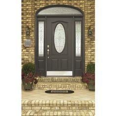 Reliabilt Hampton Oval Lite Decorative Gl Right Hand Inswing Primed Steel Prehung Entry Door Solid Core Common X Actual