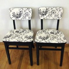 Fabric applied to wooden chairs! A whole new look!