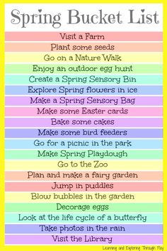 Spring Bucket List for Kids. Fun things to do with kids in spring. Learning and Exploring Through Play.