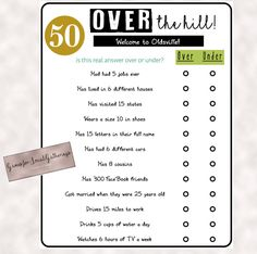 Birthday Party Games Awesome Birthday Party Game Over the Hill Over or Under Trivia Party Bus Games, 50th Birthday Party Games, Moms 50th Birthday, Adult Birthday Party, 50th Party, Birthday Ideas, Happy Birthday, Sleepover Party, Special Birthday
