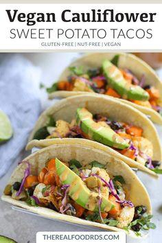 Vegan Cauliflower Sweet Potato Tacos glutenfree tacos vegan taco recipe nutfree sweet potato tacos glutenfree dinner recipe vegan dinner healthy dinner recipe The. Vegan Mexican Recipes, Beef Recipes, Whole Food Recipes, Vegetarian Recipes, Healthy Recipes, Healthy Food, Vegetarian Dish, Gluten Free Recipes For Dinner, Easy Dinner Recipes