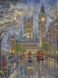 The Palace, Westminster London by Robert Finale - http://www.parsonsthomaskinkadegallery.com/palace-westminster-london-robert-finale/