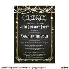 Great Gatsby Birthday invitation / Art Deco invite, adult birthday, adult birthday for women, great gatsby, great gatsby birthday, art deco birthday, 1920s themed birthday, 1920s birthday, elegant adult birthday, 40th birthday, great gatsby themed birthday, gold, sparkle, pearl, 1920s