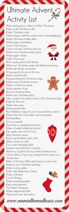 holiday activities The ultimate advent activity list - Mum In The Madhouse- Mum In The Madhouse Decoration Christmas, Noel Christmas, Merry Little Christmas, Christmas Countdown, Winter Christmas, Christmas Crafts, Xmas, Christmas Ideas, Christmas Pictures