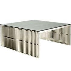Modway Furniture Modern Metal Glass Top Gridiron Coffee Table in Silver #design #homedesign #modern #modernfurniture #design4u #interiordesign #interiordesigner #furniture #furnituredesign #minimalism #minimal #minimalfurniture