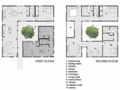 Small House Floor Plans, Home Design Floor Plans, Modern House Plans, Plan Design, Comfy Cozy Home, Casa Patio, Courtyard House Plans, Small Modern Home, Japanese Architecture