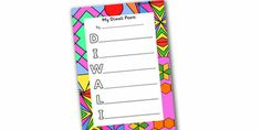 Twinkl Resources >> Diwali Acrostic Poem >> Classroom printables for Pre-School, Kindergarten, Primary School and beyond! diwali, acrostic poem, poetry, rhymes, fun, writing template, writing aid, writing template, poem starter, literacy, activity, writing prompt, creative, festival, religion, hindu, devali, divali, colour, bright, printable, editable, fun, activity, poem, english,