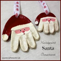 handprint-santa-ornament-SALT & FLOUR CLAY - BREAD DOUGH 2 c. flour,1 c. salt,1 c. water Mix flour and salt together. Slowly add water and stir until it forms a soft dough, all of the water may not be needed.Roll out on a flat surface to make bread dough cookie ornaments. May be painted with food coloring while still moist. Can be air dried (about 2 days) or baked 1-2 hours at 200-250 degrees. Baked ornaments are less fragile than those which have been air-dried.