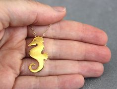 Gold seahorse necklace seahorse jewelry nautical necklace