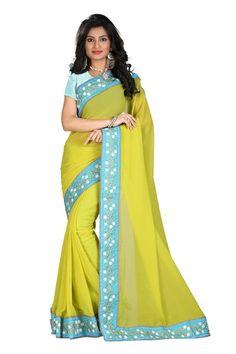 Designer Green Pure Naznin Georgette Half-Half Saree With Banarasi Blouse Fabric