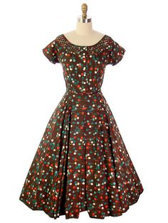 Vintage Dandelion Printed Circle Skirt Dress 1950s R&K Original 38-28- – The Best Vintage Clothing