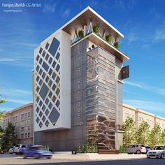 Commercial project on behance building elevation, building facade, building exterior, building design, Building Elevation, Building Exterior, Building Facade, Building Design, Bungalow Haus Design, Modern House Design, Commercial Architecture, Facade Architecture, Futuristic Architecture