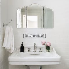 As soon as we hung this little antique mirror in our guest bath, I knew we needed something fun underneath it. Thank you for making the most perfect sign that my children will be sure to ignore. Garvin And Co, Cottage Bath, Cozy Cottage, Clean Bedroom, Bedroom Cleaning, Backyard Lighting, String Lights Outdoor, Guest Bath