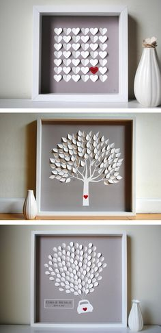 10 Creative Wedding Guest Book Ideas: Guest Book Art || Hang your guest book on the wall with carefully written notes.