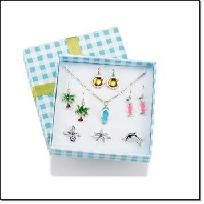 """AVON Fun in the Sun Jewelry Gift Set  Silvertone with simulated accents.   3 pairs earrings: palm tree (1 1/8"""" L), sun (3/4"""" L), drink (1/2"""" L).   Anklet (8 1/2"""" L with 1"""" extender) and 3 cute toe rings.  Gift Boxed!  Price: $19.99 $7.99 the set! + FR..."""