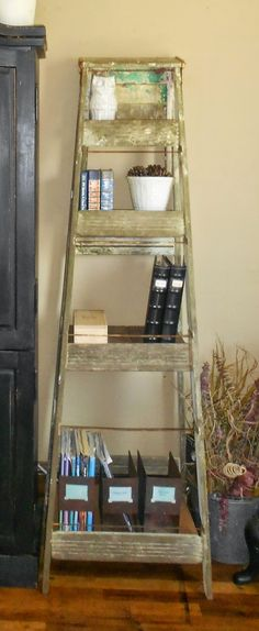 "Farmhouse Allsorts: A ""Niceful"" Ladder, Great Use Of Old Wooden Ladder"