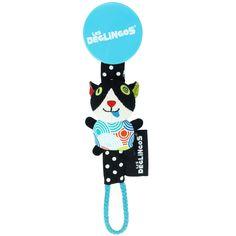 L'attache tétine Charlos le chat de la marque Les Déglingos pratique et rigolo pour que le bébé garde sa tétine à portée de main.