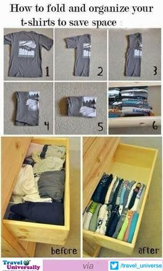 Whether It's Home or any other Place.. or Your Own Bag.. ; Folding the Clothes is very necessary and useful task. Here is one (much useful to Save space) :-)  For more travel Updates/Offers and Interesting Stuffs be connected to  Travel Universally