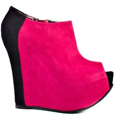 Fran Tick - Fuchsia Black Suede by Luichiny Suede Booties, Black Booties, Black Heels, Black Suede, Ankle Booties, Sweet 16 Outfits, Pretty Shoes, Awesome Shoes, Fuchsia