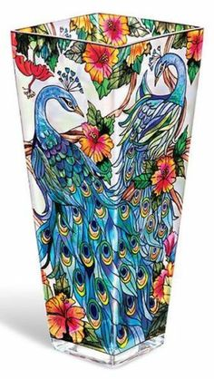 """Amia Stained Glass Vase 4 25"""" x 4 25"""" x 10"""" Stunning Colorful Peacock 9659 