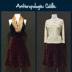 """Anthro Velvet Tiered Skirt by Odille Plush burgundy velvet, zip closure, A-Line.  Cotton velvet shell and acetate lining. Great condition. Measured flat and relaxed: approx 14.25"""" across the waist and 24"""" length  **  Prices are as listed- No offers please.  I'm happy to bundle to save shipping costs, but there are no additional discounts.  No trades, paypal or condescending terms of endearment  ** Anthropologie Skirts"""