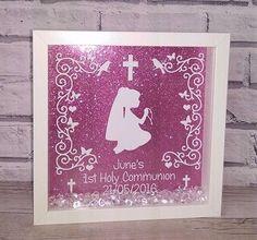 First holy communion glitter 3d box frame by Glammygifts on Etsy