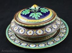 Antique Wedgewood Majolica Lidded Bowl and Stand