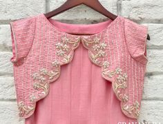 Kids Blouse Designs, Simple Blouse Designs, Kurta Designs Women, Bridal Blouse Designs, Saree Blouse Designs, Lehenga, Sarees, Traditional Jacket, Kurti Embroidery Design
