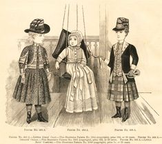 This is a group of childs clothing, mostly girls dresses and some infant gowns. Note the military influence, sashes, cording, buttons, and ...