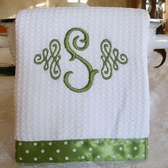 Monogrammed Kitchen Towel / Hand Towel / Yellow Towel Monogrammed Kitchen Towel, Monogrammed Dish Towel, Lime Green with White Dots Monogram Towels, Embroidery Monogram, Embroidery Fonts, Monogram Fonts, Embroidery Applique, Embroidery Ideas, Monogram Styles, Monogram Letters, Brother Embroidery