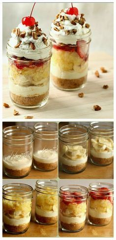 DIY Banana Split Cake in a Mason Jar Mason Jar Deserts, Mason Jar Pies, Mason Jar Cupcakes, Mason Jar Meals, Meals In A Jar, Mini Desserts, Easy Desserts, Delicious Desserts, Yummy Food