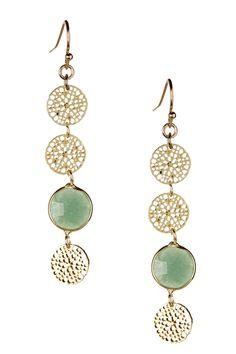 Green Aventurine Daisy Dangle Earrings by Sapanyu on @HauteLook