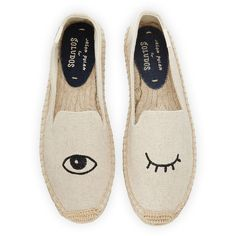 Soludos Wink-Embroidered Canvas Espadrille (€63) ❤ liked on Polyvore featuring shoes, sandals, flats, shoes espadrilles, flat shoes, espadrille sandals, canvas flats, soludos espadrilles and espadrille flats