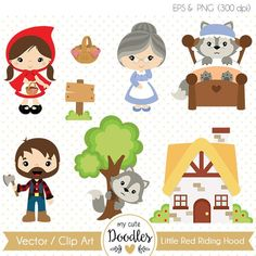 Little Red Riding Hood clipart, Wolf clipart, cute woodland, boy and girl woodland theme, fairytale clip art - Commercial use - Wolf Clipart, Vector Clipart, Doodles Bonitos, Red Ridding Hood, Paper Embroidery, Cute Doodles, Woodland Theme, Red Hood, Conte