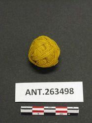 YPM ANT 263498 - Yellow yarn; small ball; dyed by vegetable dyes-- qibayat qan napudun qanqe qinnunig; Field #E84.1348; Bayninan, Banaue, Ifugao, Philippines. Yale  Peabody Museum of Natural History.
