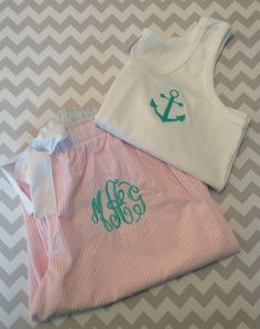 Monogrammed Pajama Bottoms Anchor Tank Top www.etsy.com/shop/southerncharmsgifts
