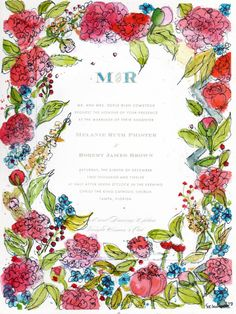 Wedding Keepsake Invitation MOUNTED on watercolor by SchulmanArts, $120.00