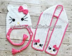 Niña loved ganchillo del sombrero del gatito, Gatito de la bufanda ...