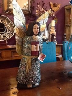 Hand carved wood Angel con Milagros Beautiful