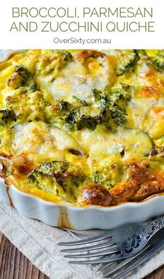 Broccoli, Parmesan and Zucchini Quiche - Packed with nutrients and protein, this filling vegetable quiche is both healthy and delicious. Gluten Free Recipes For Dinner, Vegetarian Recipes, Healthy Recipes, Recipes Dinner, Brunch Recipes, Light Recipes, Wine Recipes, Cooking Recipes, Vegetable Dishes