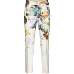 STILLS Aurora Print Pants ($115) ❤ liked on Polyvore featuring pants, print pants, patterned trousers, pastel pants, print crop pants and tailored pants